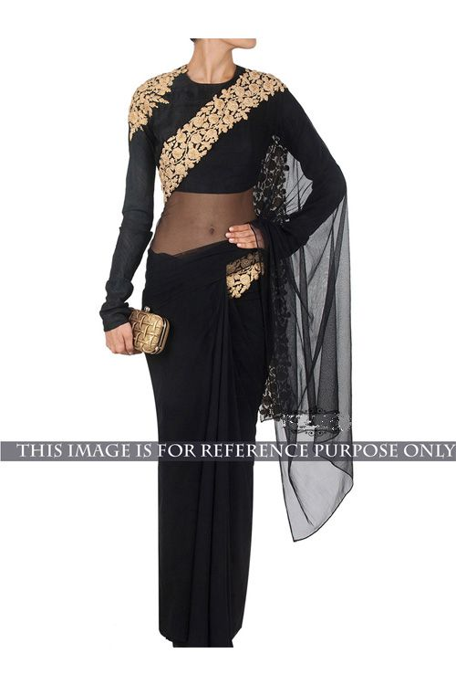 Designer Party Wear Nylon Net Black Saree