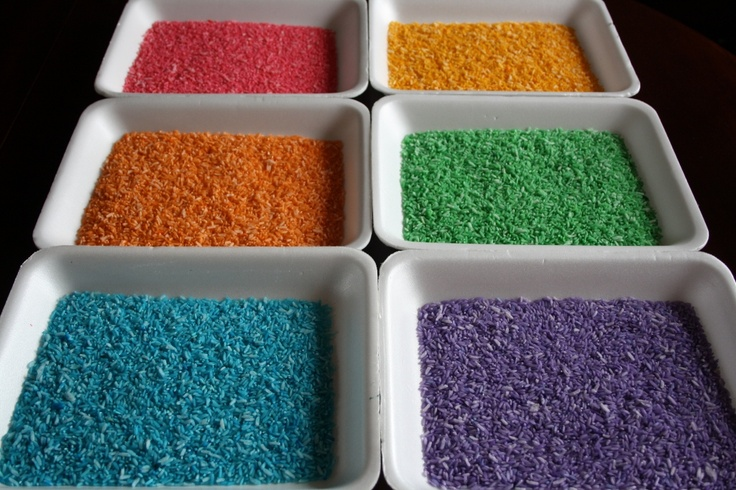 Rainbow Rice: Pour a cup of rice into a container with a lid.  Then, stir in a generous gob of Wilton icing colour-gel through the rice.  Drizzle 1/2 tsp of vinegar over the rice.  Pop the lid on your container, and shake the heck out of it.  Remove lid, and be amazed!