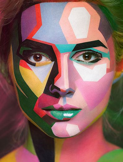 Moscow-based photographer Alexander Khokhlov and makeup artist Valeriya Kutsan have teamed up to create an amazing series of portraits, using the natural lines of models' faces to create illusionary forms.