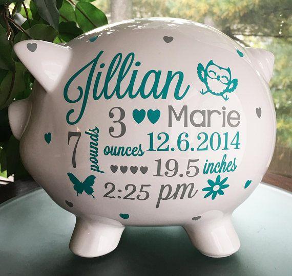 Personalized Piggy Bank, Baby Girl Piggy Bank, Baby Girl Gift, Piggy Bank, Custom Piggy Bank, Piggy Bank Girls, Nursery, Baby Stats Gift