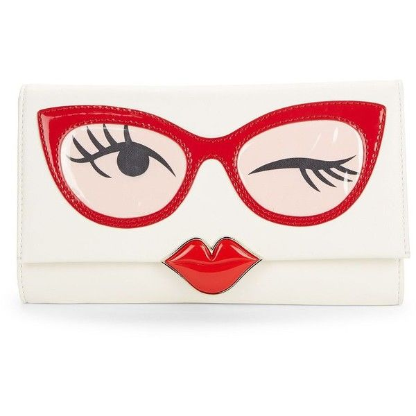 Kate Spade New York Frame Leather Clutch found on Polyvore featuring bags, handbags, clutches, multi, white purse, leather purse, 100 leather handbags, white clutches and white leather handbags