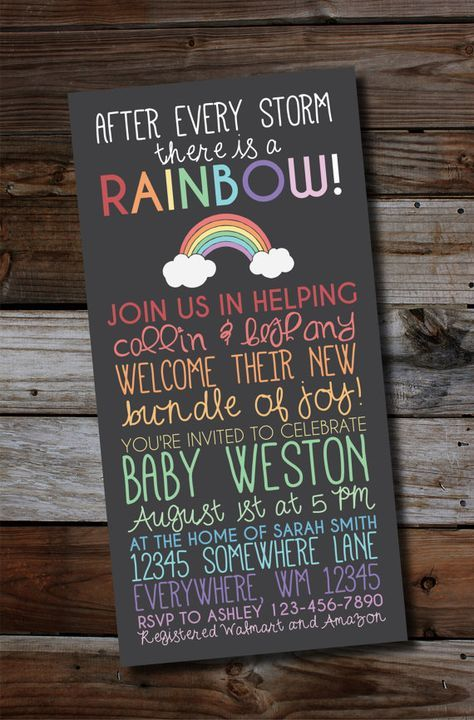 Printable Baby Shower Invitations, Pregnant After A Loss, Rainbow Baby, Chalkboard Style, Diaper Raffle, Thank You, Bring a Book Card ,  Paul Mabidikama