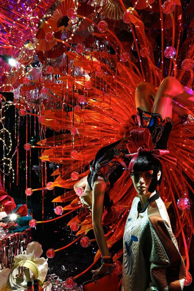 Red Fans & Acrobatic Style @ Harvey Nichols Christmas Oriental Window Display 2012
