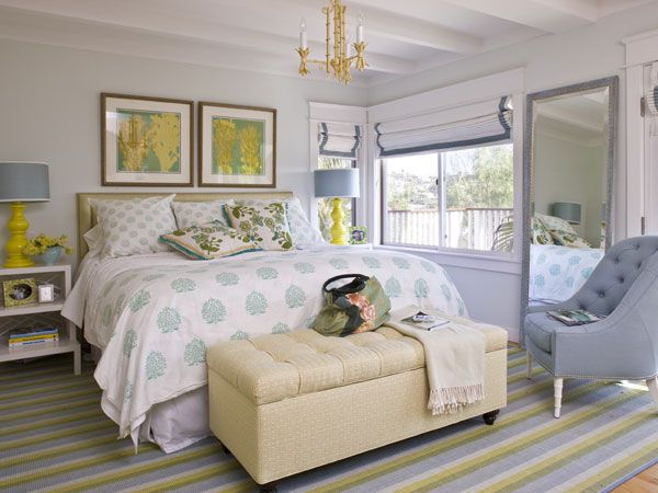 Light Blue, Gray And Yellow Room