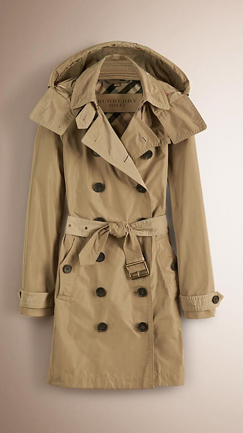 Sisal Taffeta Trench Coat with Detachable Hood - Image 1