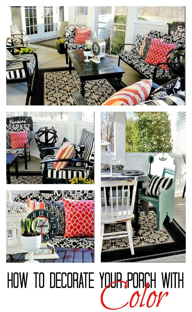 Great ideas for decorating your porch for spring with colorful fabrics.  thistlewoodfarms.com