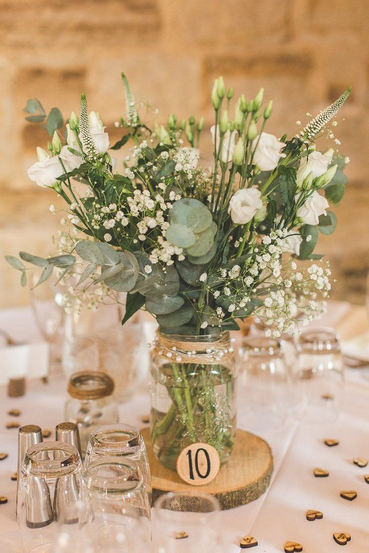 Jar Flowers Centrepiece Table Log Greenery Foliage Rustic Outdoor Summer Wedding…