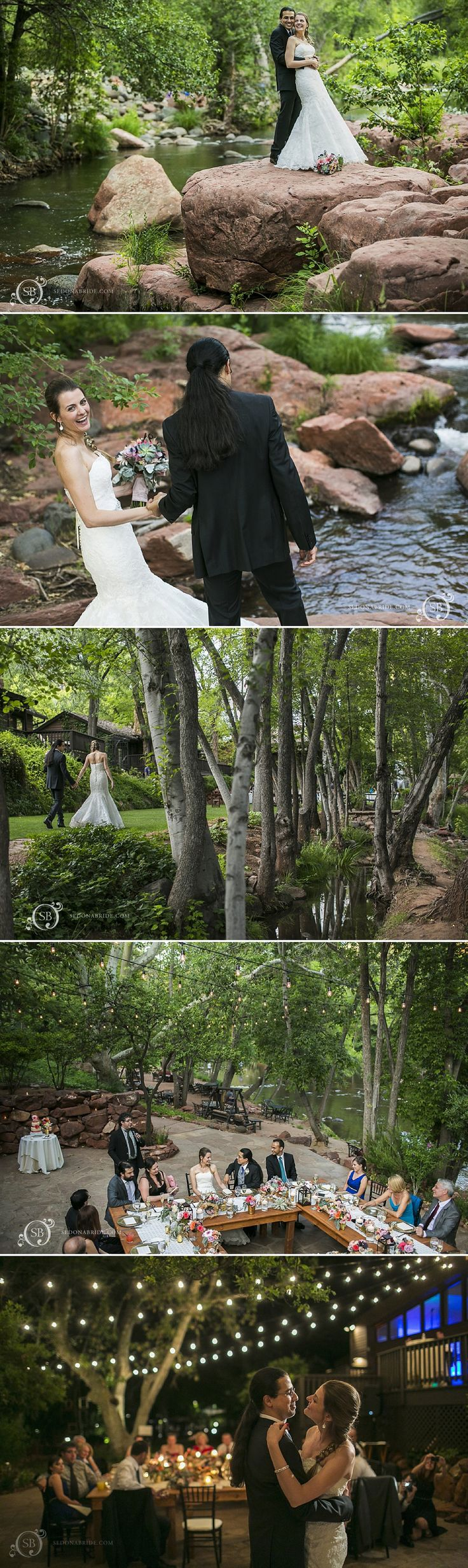 Sedona wedding reception at L'Auberge de Sedona... photography by Katrina at Sedona Bride Photographers www.sedonabride.com ... Floral by Mountain High Flowers ... outdoor Sedona wedding venue @laubergesedona