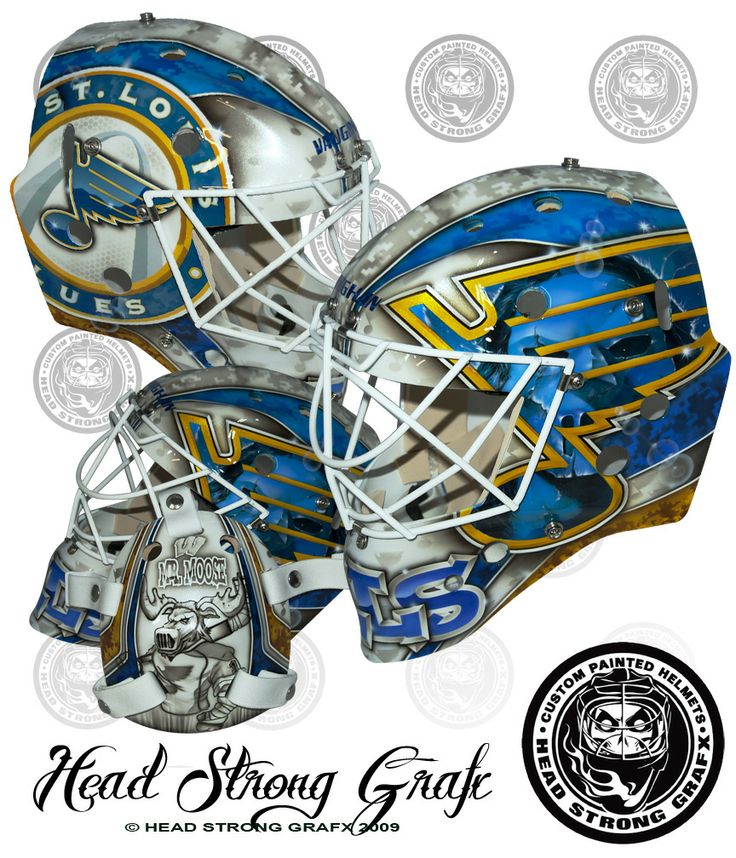 Brian Elliott's away mask for the St. Louis Blues in 2013