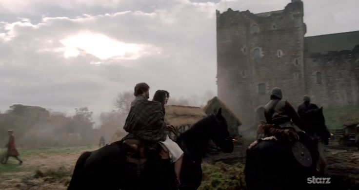Outlander TV Series: Jamie and Claire riding to Castle Leoch after she travels through the stones.