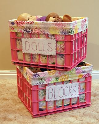 Milk Crate those are Ikea pillow cases..great Idea...obviously would change and use blue or paint a masculine color and use masculine pillowcases but this is an awesome idea