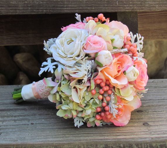 Vintage Pink & Ivory Wedding Bouquet Ready To Ship by justanns, $75.00
