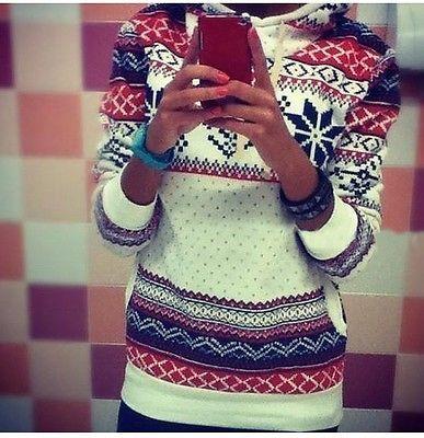 Womens christmas Winter Hoodie Sweatshirt Jumper Sweater Hooded  Pullover Top