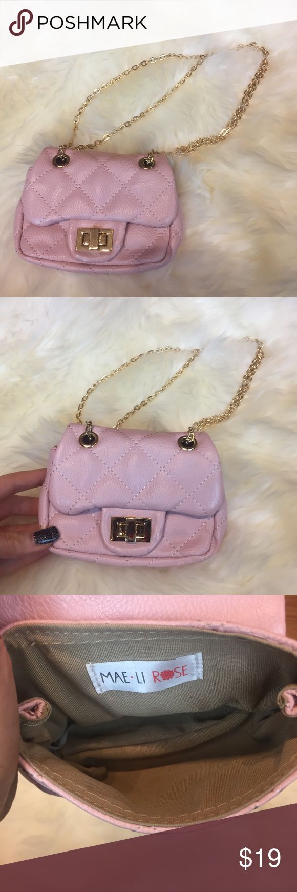 Girls Small Quilted Blush Pink Purse MAE Li Rose🌹 This adorable mini purse is like new!! Has adorable gold chain straps for some extra sass!! Perfect for your little one carrying some lipgloss or nail polish!! MAE LI ROSE Bags Mini Bags