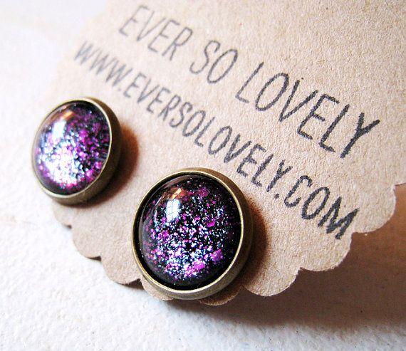 """Night Glass"" stud Earrings (c) EverSoLovely on etsy"