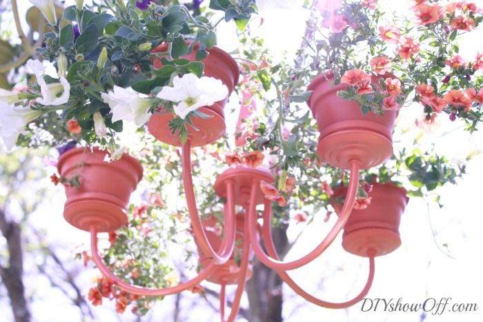 Chandelier Planter Tutorial. Love this idea! Remember to get old fixtures from work.