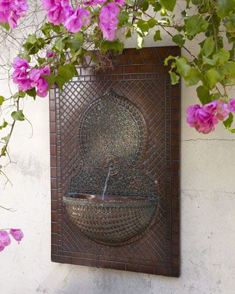 Love bougainvillea. So pretty with this fountain.  Mosaic+Tile+Wall+Fountain+at+Horchow.