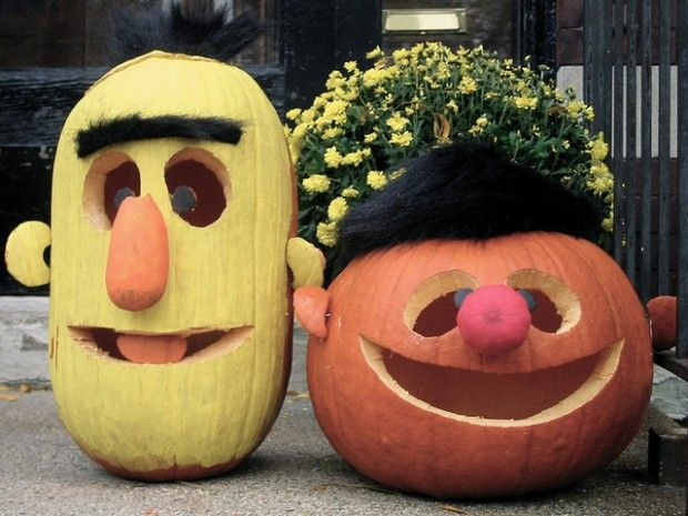 DIY Funny Carved Pumpkins and Jack-o-lanterns - Snappy Pixels: Holiday, Sesame Street, Ideas, Craft, Halloween Pumpkin, Pumpkin Carvings, Bert, Ernie Pumpkins
