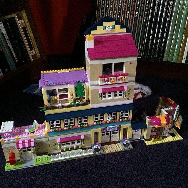 Massive Lego Friends building: Olivia's house + Heartlake High School + Stephanie's beach house + bakery.