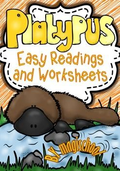 This Thematic Unit contains different sets of Printables including easy reading passages with facts about platypuses : • What are platypuses? • What do platypuses eat? • The platypus body • The platypus life cycle – the stages of a platypus divided into 4 parts with illustrations (egg – baby – young – adult).