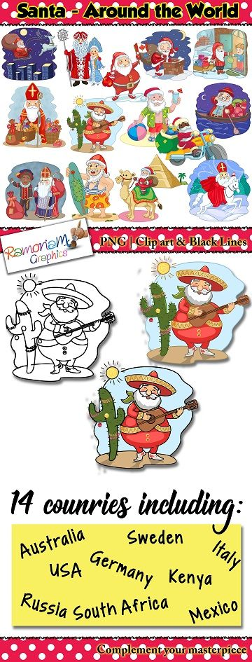 Santa clip art. Santa around the world. Father Christmas, Santa, Santa claus, Papa Noel, St. Nicholas, Pere Noel, Babbo Natale, Santo Clós, Sinterklass, Grandfather Frost, Vader Kersfees, Tomte  Perfect for Christmas around the World resources and activities