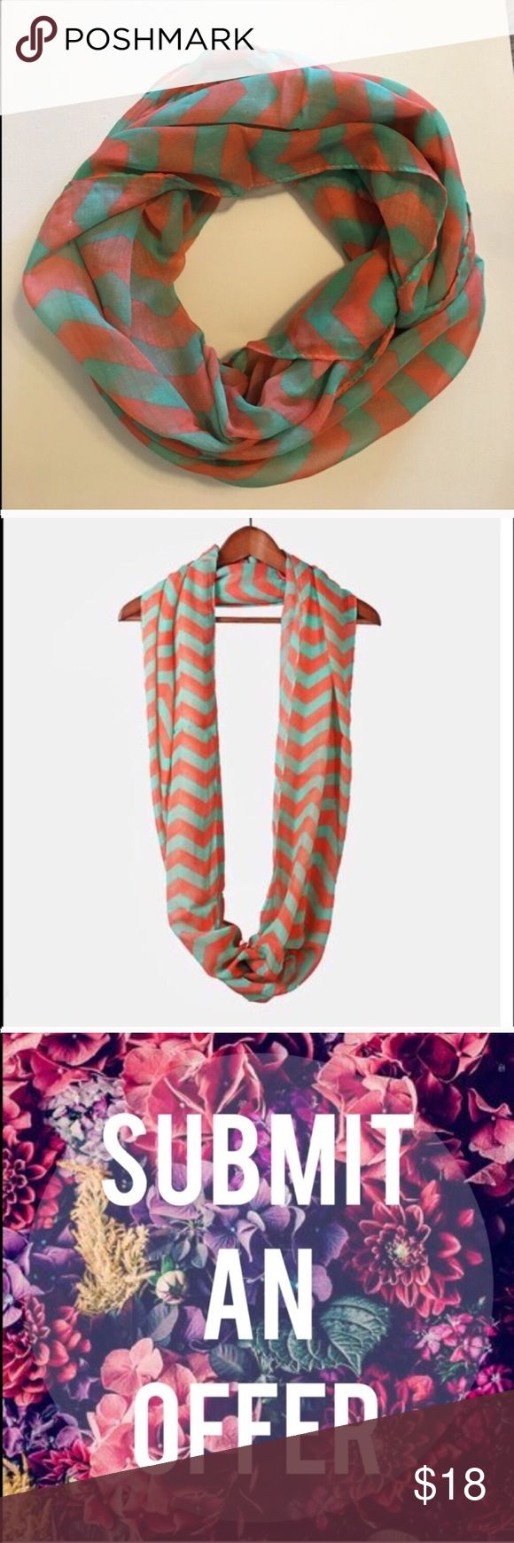NEW Mint and Coral Chevron Infinity Scarf Adorable lightweight infinity scarf with large chevron print. Lightweight enough to wear over a tank or tee in the warmer seasons or layered with a sweater or jacket during colder seasons!  • Offers Welcome • Bundle Discounts  • Suggested User • Fast Shipper Accessories Scarves & Wraps