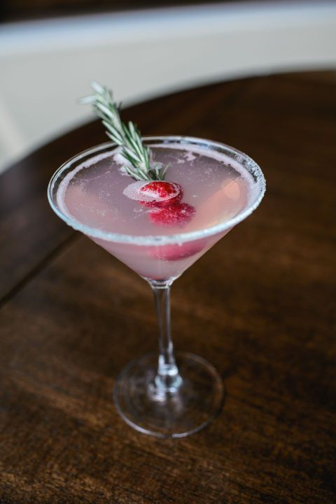 From Davio's NYC Ingredients 1.5oz vodka .75 oz cherry brandy Juice of 1 lime Raspberries Rosemary Sugar Instructions Rim a Martini glass with sugar. Fill your cocktail shaker halfway with ice and pour in the ingredients. Shake until chilled and strain the mixture into the glass. Garnish with two raspberries and sprig of rosemary.