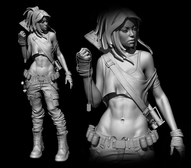 Fantastic 3D sculpt. Beautiful musculature, terrific proportions, interesting clothing and accessories. By Leona Heidern (KOF character)