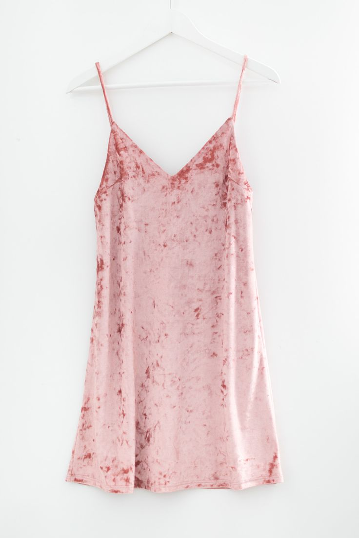 "- Soft crushed velvet cami slip dress - Flattering V neckline - Spaghetti straps - Size small measures approx. 32"" in length - 96% Polyester 4% Spandex - Made in USA"