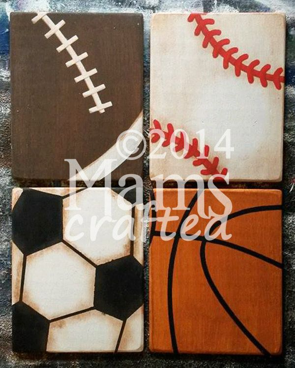 Vintage Sports Set of 4 8x10 Weathered Wood Wall by MamsCrafted