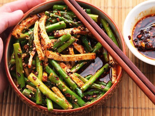 Sichuan-Style Asparagus and Tofu Salad - Arbol Chilies, Rice Vinegar, Balsamic, Soy Sauce, Sugar, Garlic, Sesame Seeds, Tofu...?  Add Chicken, SCALLIONS