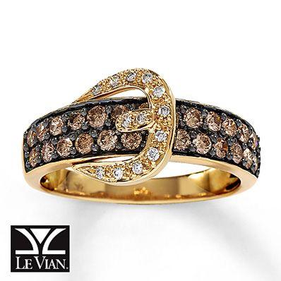 Chocolate Diamonds® Ring 3/4 ct tw Round-cut 14K Honey ...
