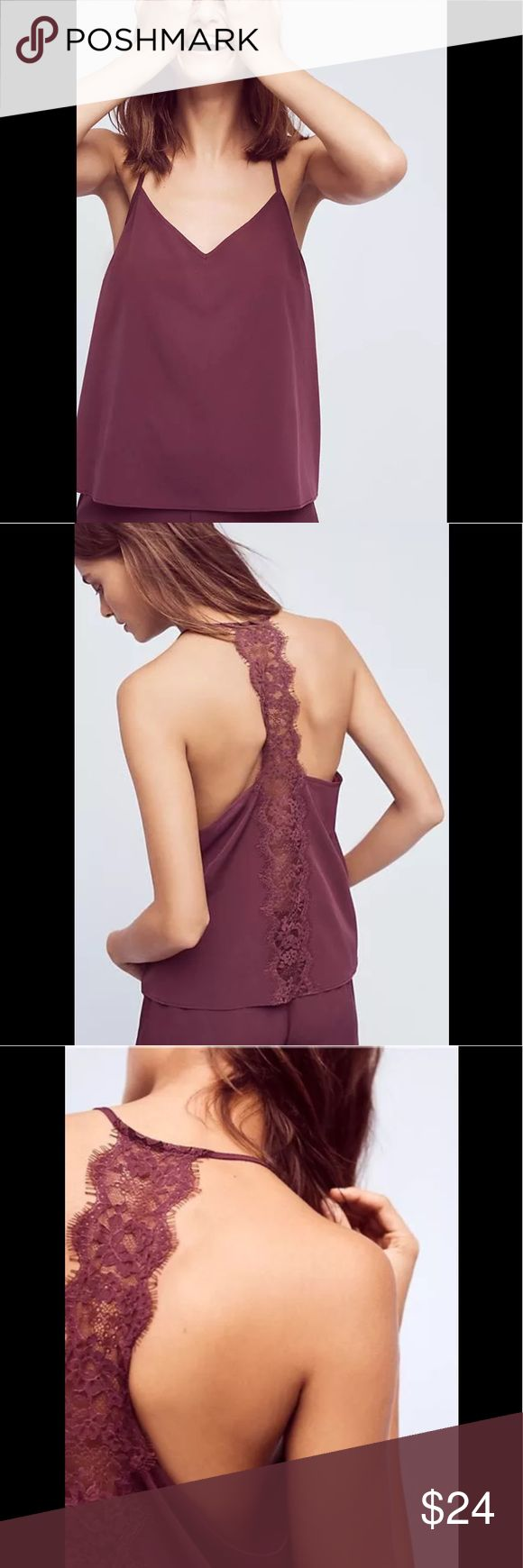 """Anthropologie Aurora Lacy Camisole Eloise XS NEW Anthropologie Aurora Lacy Camisole by Eloise XS NEW Wine 🌻Brand New Condition without tags. Lace detail on back. Pullover styling. Hand wash Polyester Style No. 39846829  » Measured Flat; Bust: 16.5"""" Falls approx. (adjustable shoulder straps)22"""" from shoulder » I only sell new items! Anthropologie Intimates & Sleepwear Chemises & Slips"""