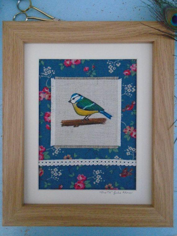 Original Stitched Fabric Framed Art Piece by PeacockEmporiumLady