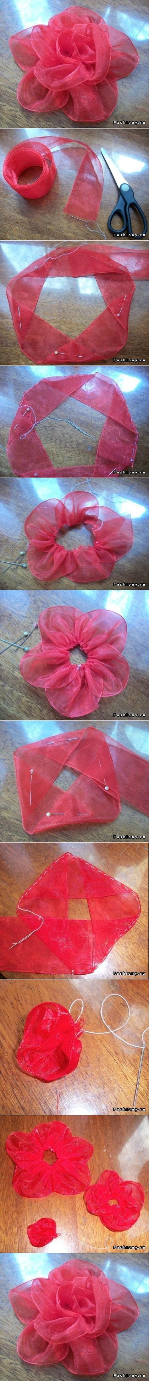 Ribbon Rose Illustrated Tutorial: fold angles, pin, stitch perimeters, layer | I would heat seal the raw edges of the organdy ribbon to prevent fraying & sew a bling  onto the flower center