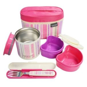 Stainless Steel Lunch Box set 560ml Pink Stripe with Fork