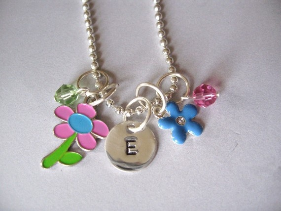 Personalized Flower Princess charm necklace from the belle bambine children's line. This colorful and sparkling necklace will charm any little beautiful flower!