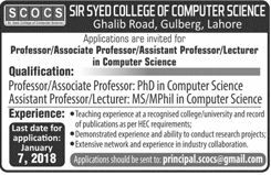 Sir Syed College Of Computer Science 2018 For Professor,Associate professor,Lecturer