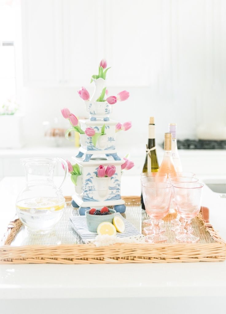 Tray chic! We love how the ladies of @PalmBeachLately elevated their drink station with fresh flowers, housed in our beloved Country Estate Delft Blue Tulipiere #elevatetheeveryday #floralfollies