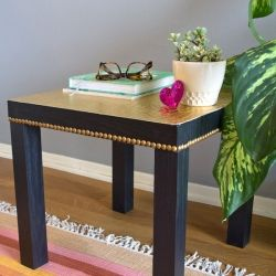 Restyle an Ikea Lack Table with a few gold touches! DIY projects-need to keep these in mind when I do my apartment!
