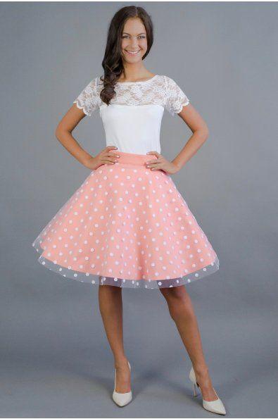 Meruňka s puntíkatým tylem 3/4 kolová sukně barevný bavlněný podklad + puntíkatý tyl délka 53 cm zip + knoflíčky na zadní straně sukni vám ušijeme na míru