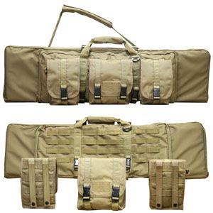 Assault rifle bag with detachable satchels.