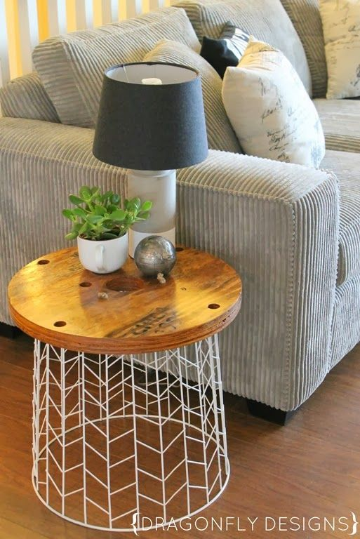DIY Accent Table using a trash container and home improvement store leftover spool ends