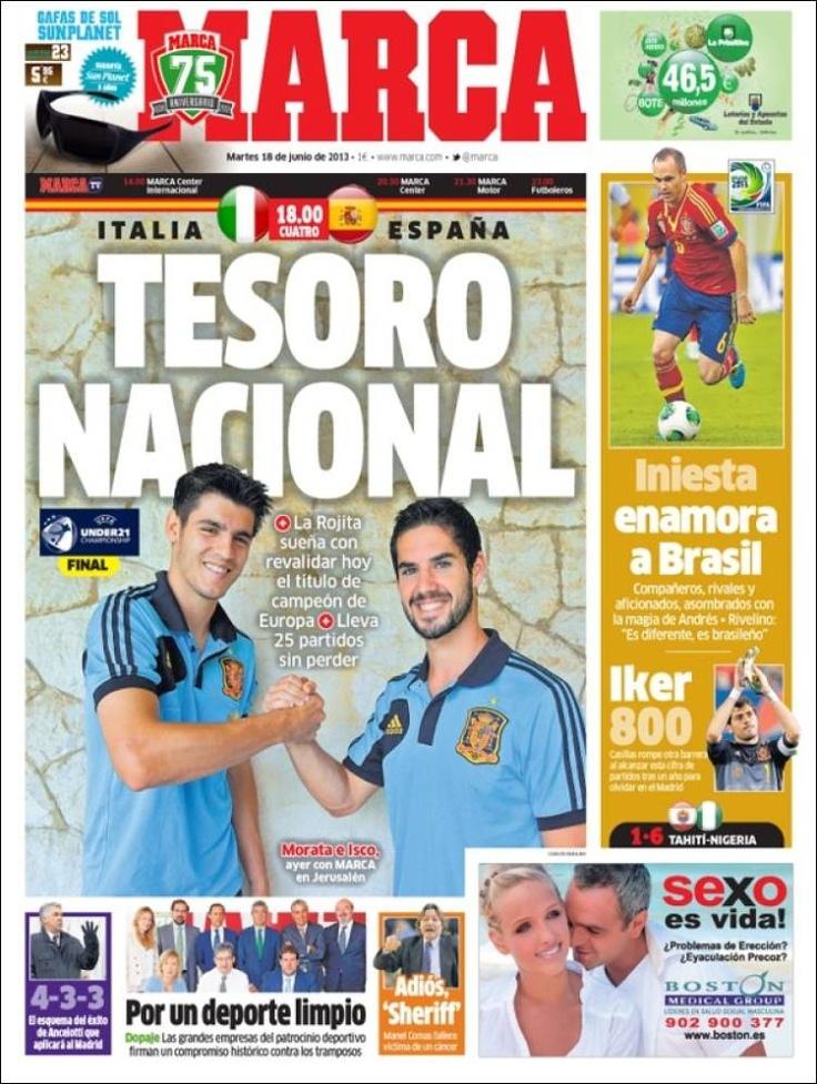Los Titulares y Portadas de Noticias Destacadas Españolas del 18 de Junio de 2013 del Diario Deportivo Marca ¿Que le parecio esta Portada de este Diario Español?