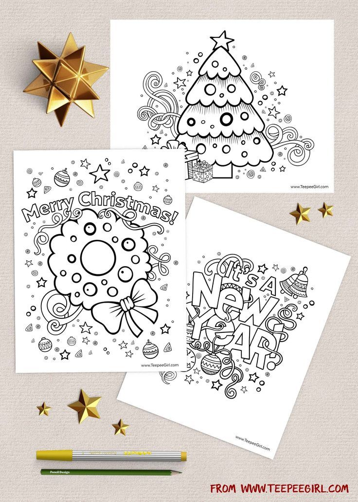 These free Christmas coloring pages are the perfect way to keep kids happy and busy during this holiday season! There are three versions, and you can get them all at http://www.TeepeeGirl.com!