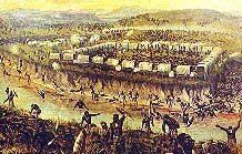 The Battle of Blood River - The Boer picked off the Zulu warriors lining the banks of the river that ran red with their blood - hence the name Blood River.  An estimated 3000 Zulu warriors were killed on the veld, in the donga and in the river. Not a single Boer was killed. The Zulus were no match against a strong Boer defensive position. In the ultimate of ironies, on that very day, the British had run up the Union Jack in Durban. The Voortrekkers' greatest enemy had arrived.
