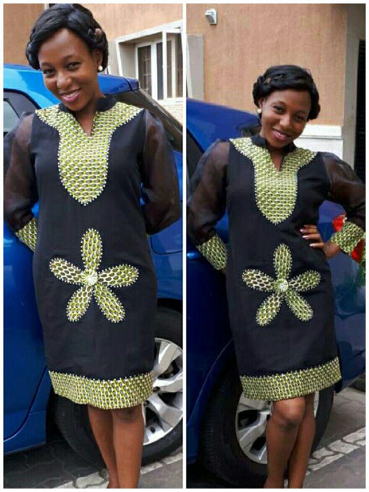 Chiffon dress with Ankara patch work