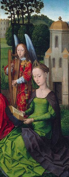 """Detail of the """"Virgin and Child with Saints Catherine of Alexandria and Barbara"""" by Hans Memling (Netherlandish, active by 1465, died 1494), 1479."""