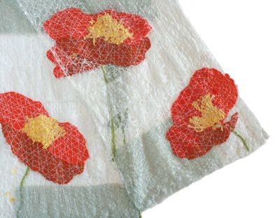 Even though carnations & chrysanthemums are traditional for Mother's Day, we think these red poppies are just as pretty & will last forever! This gorgeous & intricate scarf by #MaryHammond would look great around Mom's shoulders or casually draped over a table. $160 #ChemersGallery #MothersDayGift