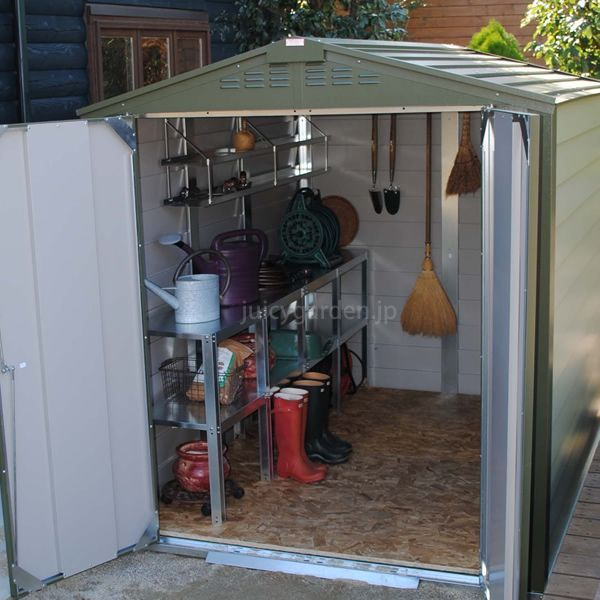 屋外物置、収納庫用2段ワークベンチ エクステリア用品通販のジューシーガーデン